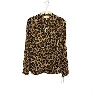 Dana Buchman Leopard Print Blouse Sz M